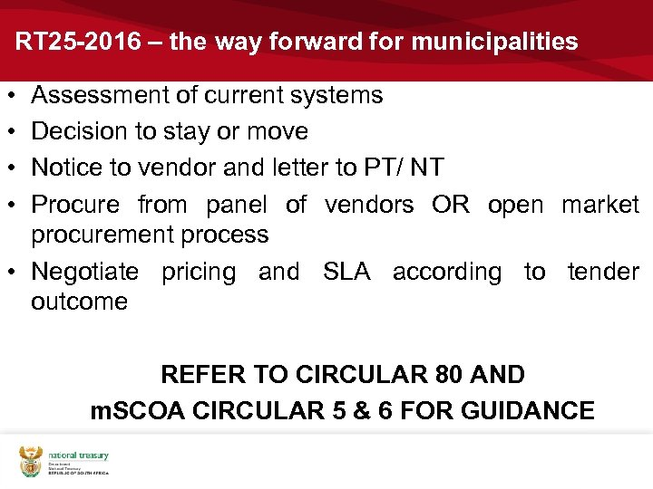 RT 25 -2016 – the way forward for municipalities • • Assessment of current