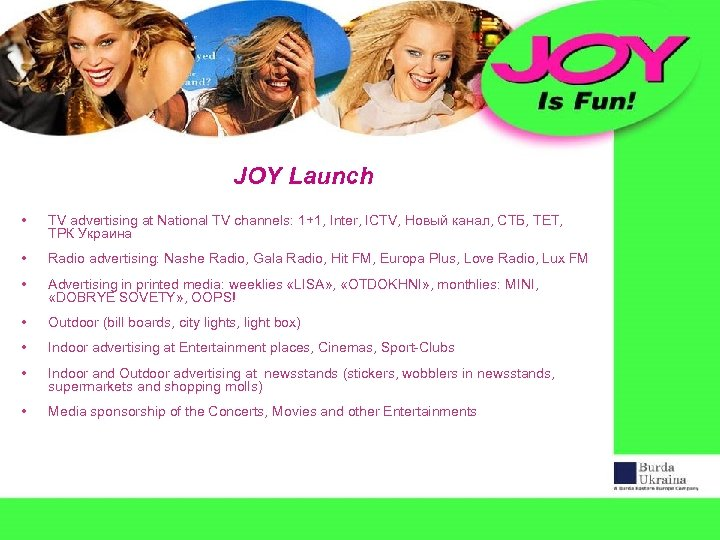 JOY Launch • TV advertising at National TV channels: 1+1, Inter, ICTV, Новый канал,