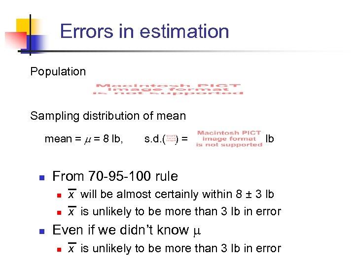 Errors in estimation Population Sampling distribution of mean = = 8 lb, s. d.