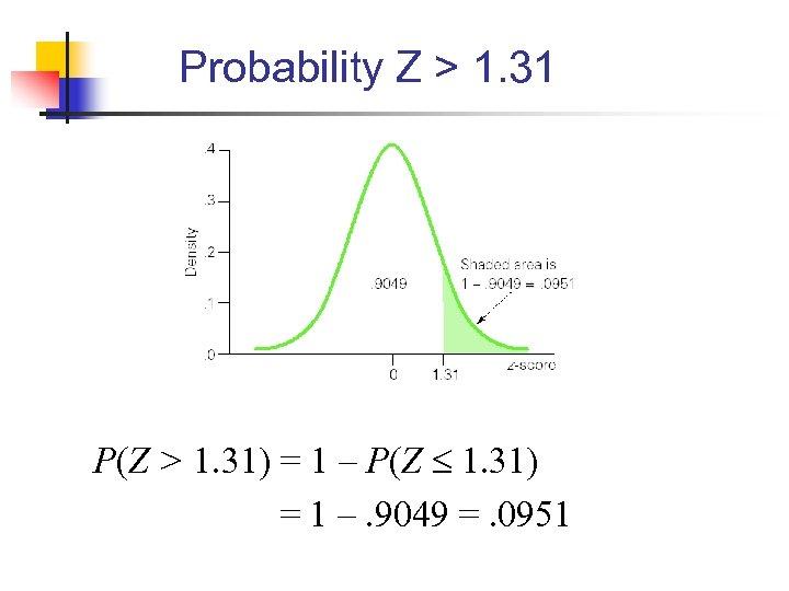 Probability Z > 1. 31 P(Z > 1. 31) = 1 – P(Z 1.