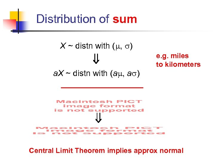 Distribution of sum X ~ distn with ( , ) e. g. miles to