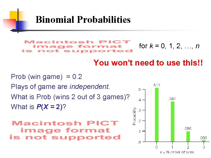 Binomial Probabilities for k = 0, 1, 2, …, n You won't need to
