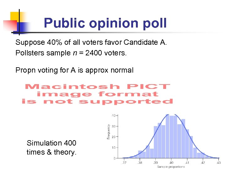 Public opinion poll Suppose 40% of all voters favor Candidate A. Pollsters sample n