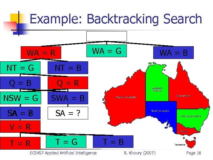 Example: Backtracking Search WA = G WA = R NT = G NT =