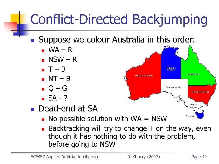 Conflict-Directed Backjumping n Suppose we colour Australia in this order: n n n n