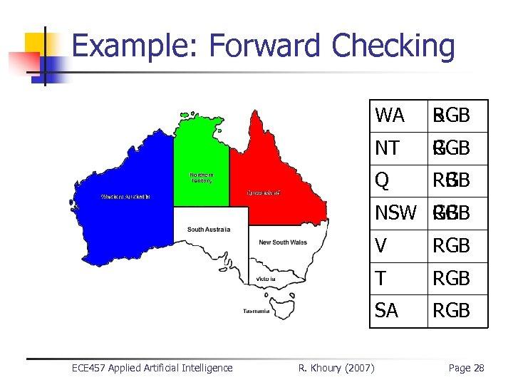 Example: Forward Checking WA B RGB NT G RG RGB Q R RB RGB