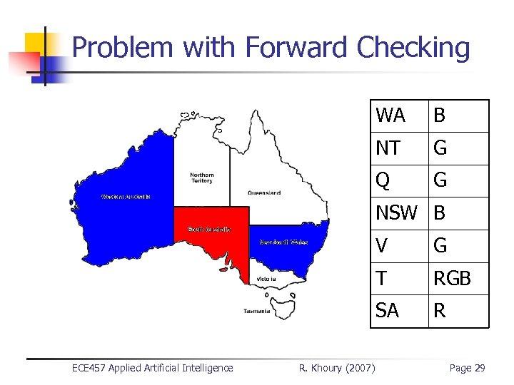 Problem with Forward Checking WA B NT G Q G NSW B V T