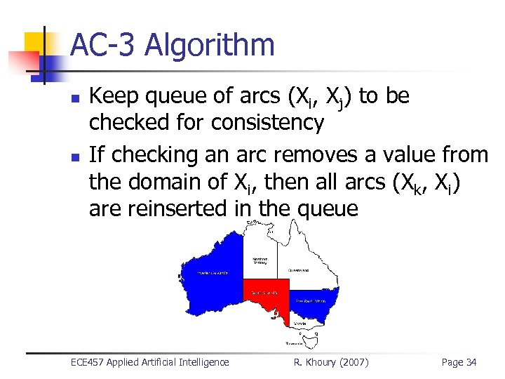AC-3 Algorithm n n Keep queue of arcs (Xi, Xj) to be checked for