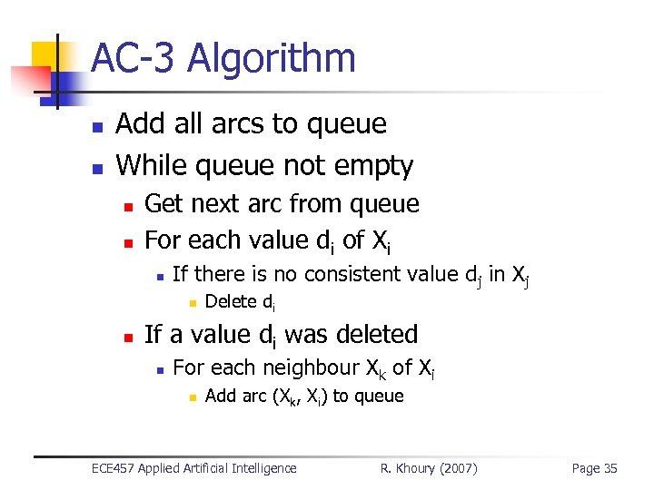 AC-3 Algorithm n n Add all arcs to queue While queue not empty n