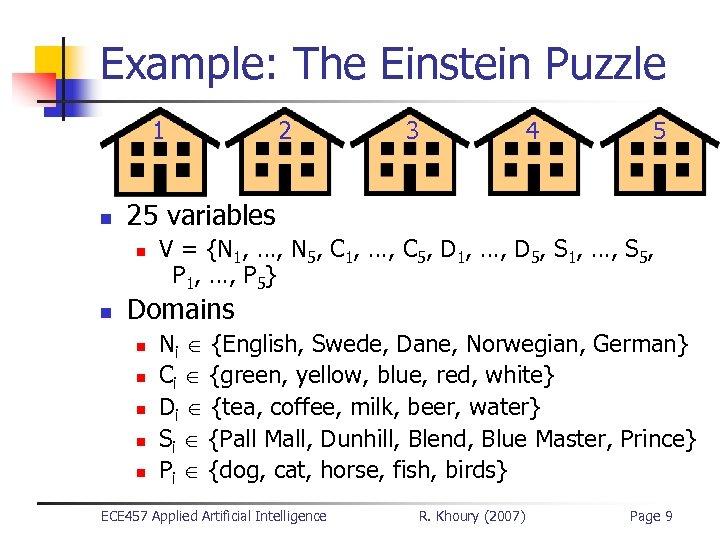 Example: The Einstein Puzzle 1 n 3 4 5 25 variables n n 2