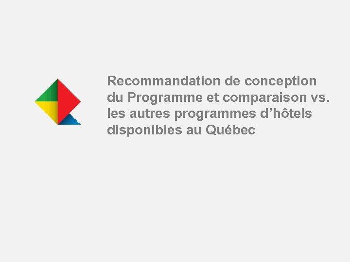 Recommandation de conception du Programme et comparaison vs. les autres programmes d'hôtels disponibles au