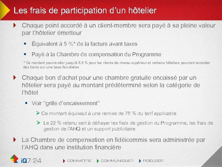 Les frais de participation d'un hôtelier Chaque point accordé à un client-membre sera payé