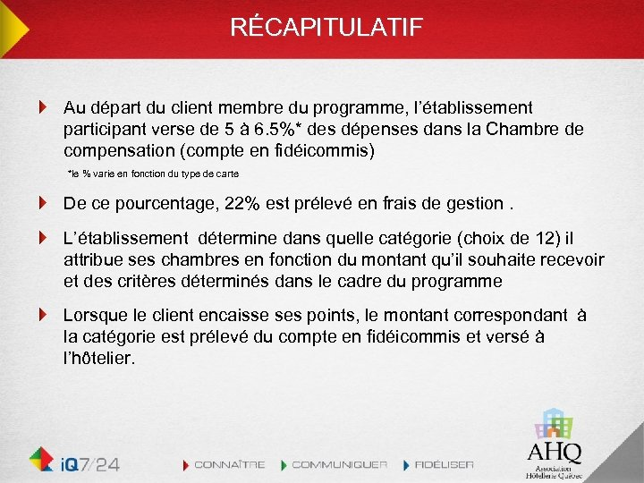 RÉCAPITULATIF Au départ du client membre du programme, l'établissement participant verse de 5