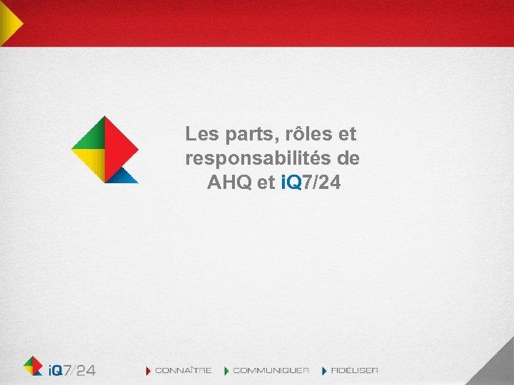 Les parts, rôles et responsabilités de AHQ et i. Q 7/24