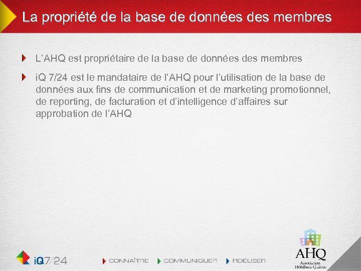 La propriété de la base de données des membres L'AHQ est propriétaire de la