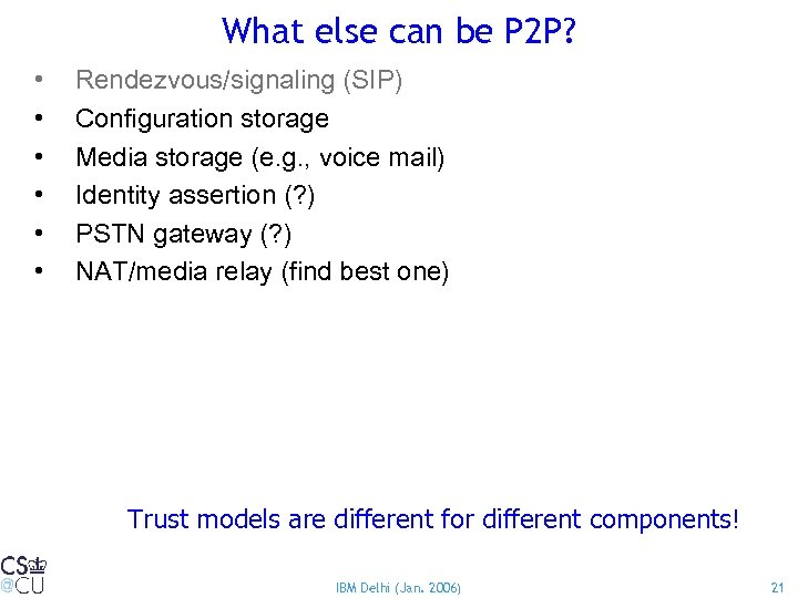 What else can be P 2 P? • • • Rendezvous/signaling (SIP) Configuration storage