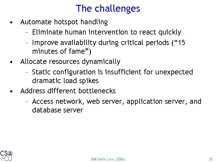 The challenges • Automate hotspot handling – Eliminate human intervention to react quickly –