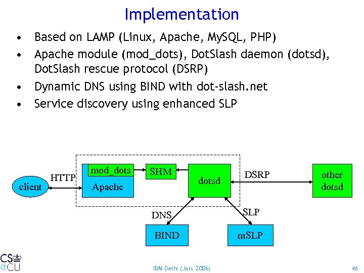 Implementation • Based on LAMP (Linux, Apache, My. SQL, PHP) • Apache module (mod_dots),