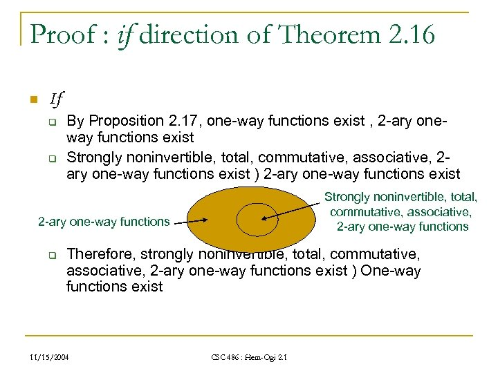 Proof : if direction of Theorem 2. 16 n If q q By Proposition