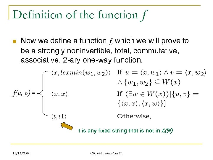 Definition of the function f n Now we define a function f, which we