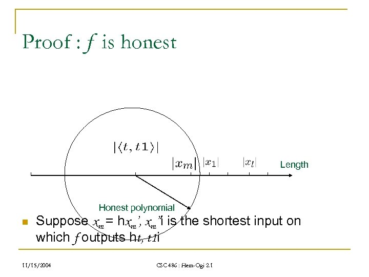 """Proof : f is honest Length Honest polynomial n Suppose xm = hxm', xm""""i"""