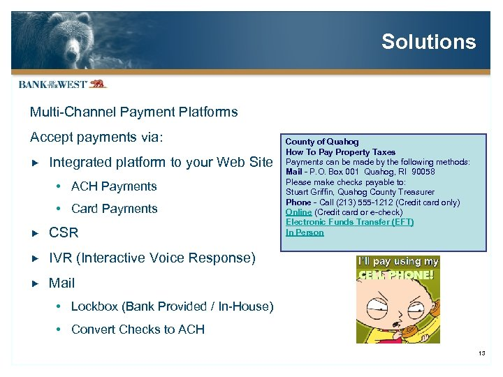 Solutions Multi-Channel Payment Platforms Accept payments via: Integrated platform to your Web Site ACH