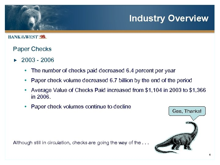 Industry Overview Paper Checks 2003 - 2006 The number of checks paid decreased 6.