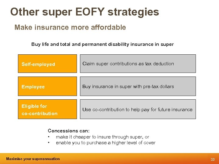 Other super EOFY strategies Make insurance more affordable Buy life and total and permanent