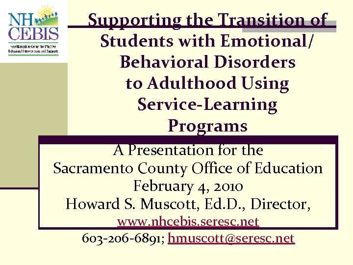 Supporting the Transition of Students with Emotional/ Behavioral Disorders to Adulthood Using Service-Learning Programs