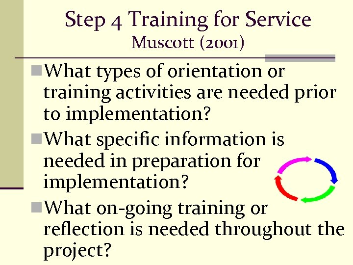 Step 4 Training for Service Muscott (2001) n. What types of orientation or training