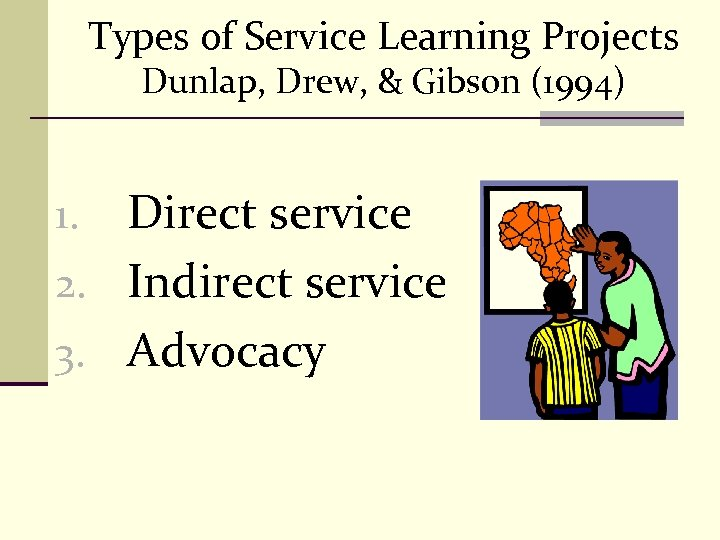 Types of Service Learning Projects Dunlap, Drew, & Gibson (1994) Direct service 2. Indirect