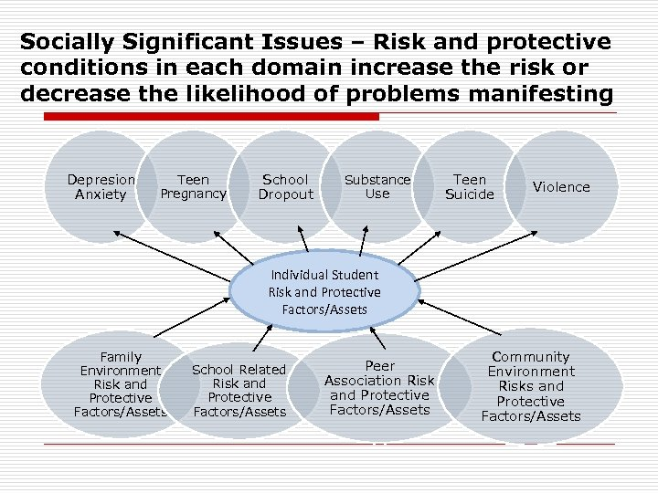 Socially Significant Issues – Risk and protective conditions in each domain increase the risk