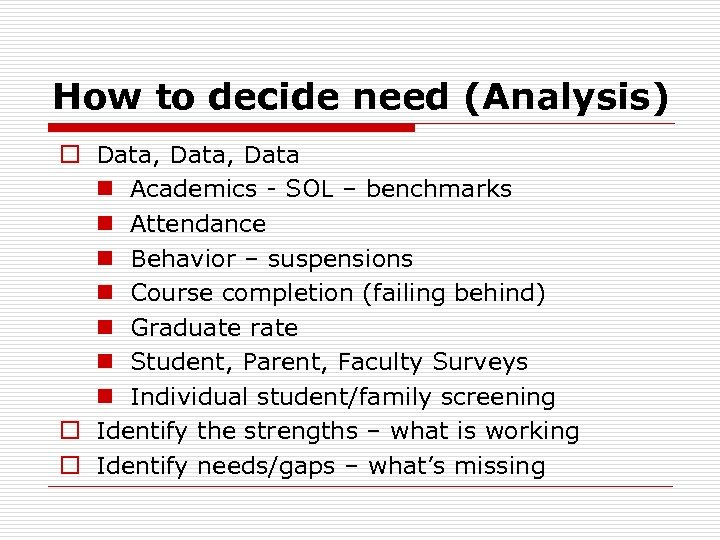 How to decide need (Analysis) o Data, Data n Academics - SOL – benchmarks