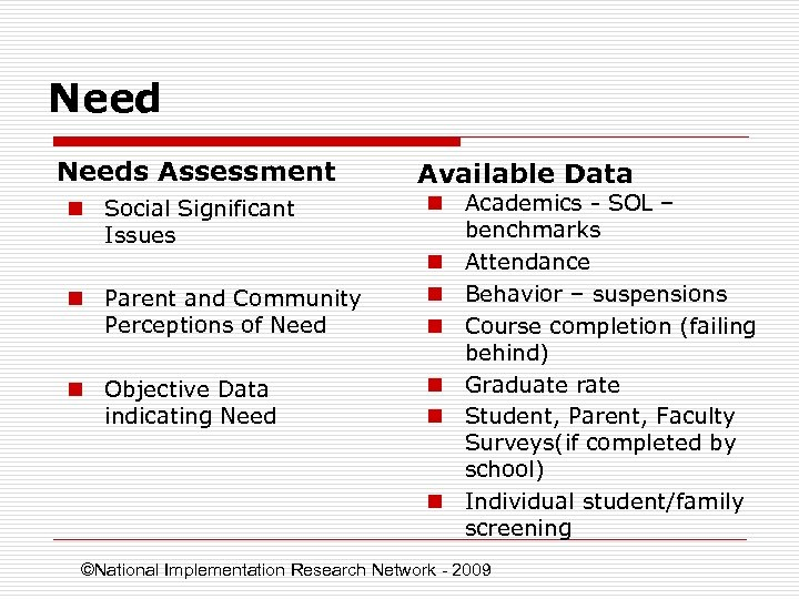 Needs Assessment n Social Significant Issues n Parent and Community Perceptions of Need n