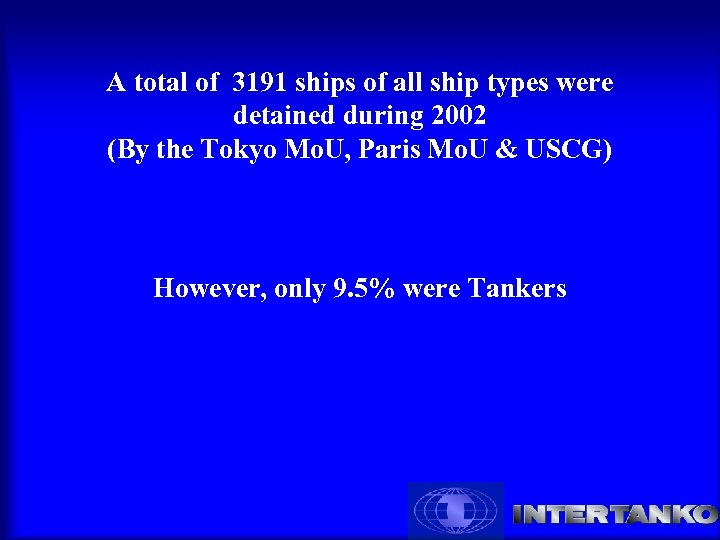 A total of 3191 ships of all ship types were detained during 2002 (By