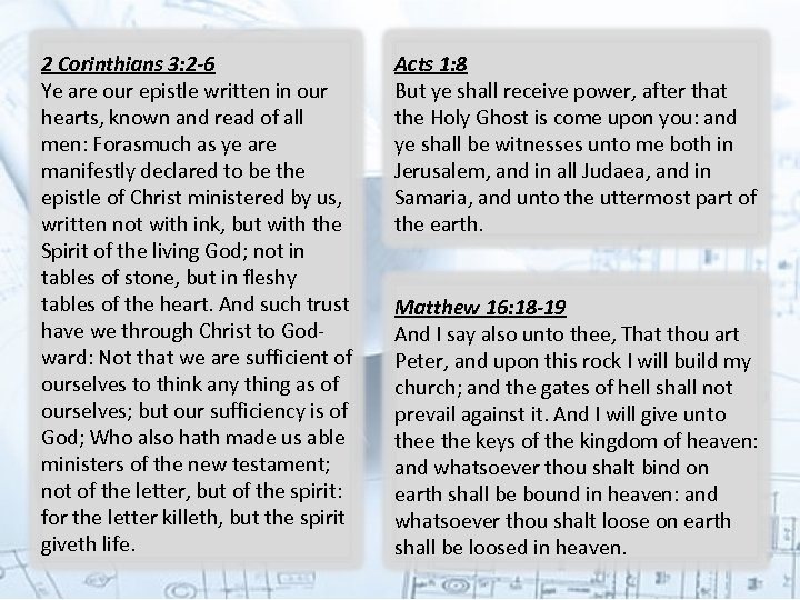 2 Corinthians 3: 2 -6 Ye are our epistle written in our hearts, known