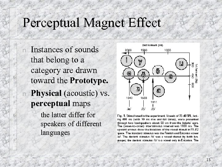 Perceptual Magnet Effect n n Instances of sounds that belong to a category are