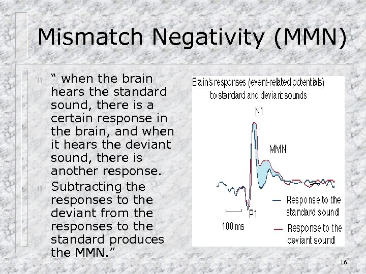 "Mismatch Negativity (MMN) n n "" when the brain hears the standard sound, there"