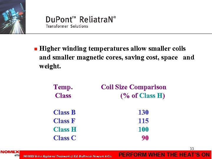 n Higher winding temperatures allow smaller coils and smaller magnetic cores, saving cost, space
