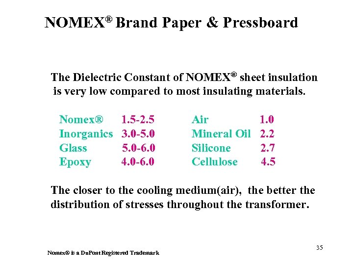 NOMEX® Brand Paper & Pressboard The Dielectric Constant of NOMEX® sheet insulation is very