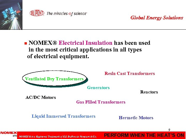 Global Energy Solutions NOMEX® Electrical Insulation has been used in the most critical applications