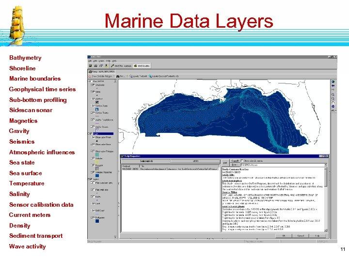 Marine Data Layers Bathymetry Shoreline Marine boundaries Geophysical time series Sub-bottom profiling Sidescan sonar