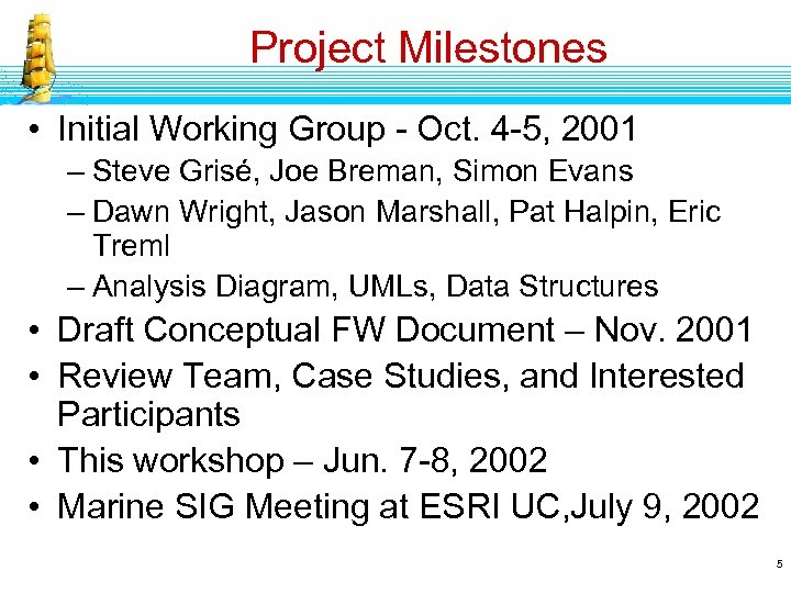 Project Milestones • Initial Working Group - Oct. 4 -5, 2001 – Steve Grisé,