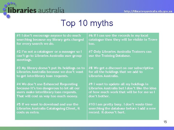 Top 10 myths #1 I don't encourage anyone to do much searching because my