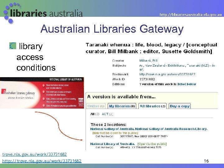 Australian Libraries Gateway library access conditions trove. nla. gov. au/work/33731682 http: //trove. nla. gov.