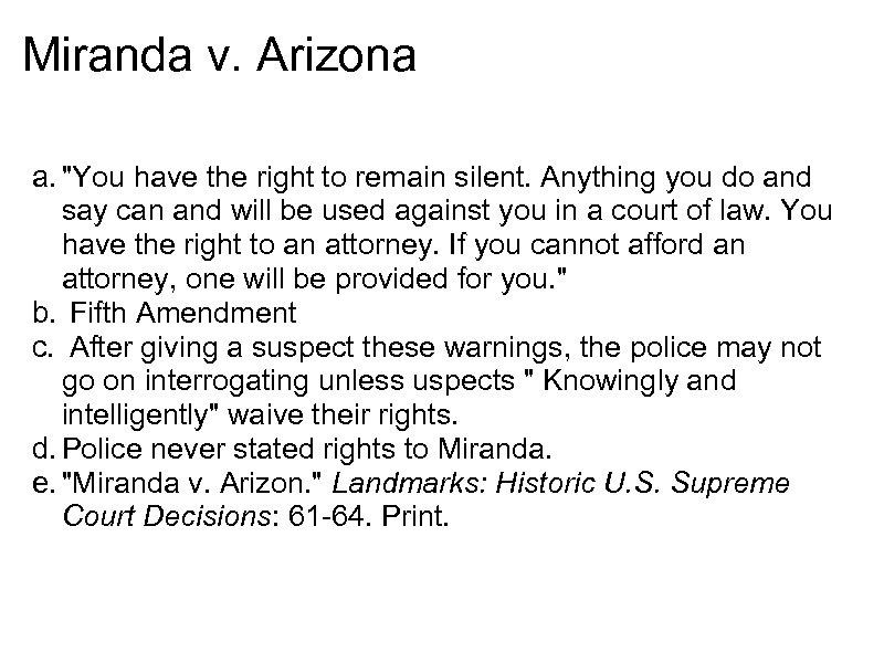 Miranda v. Arizona a.