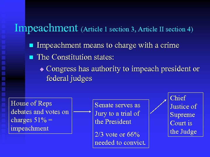 Impeachment (Article 1 section 3, Article II section 4) n n Impeachment means to