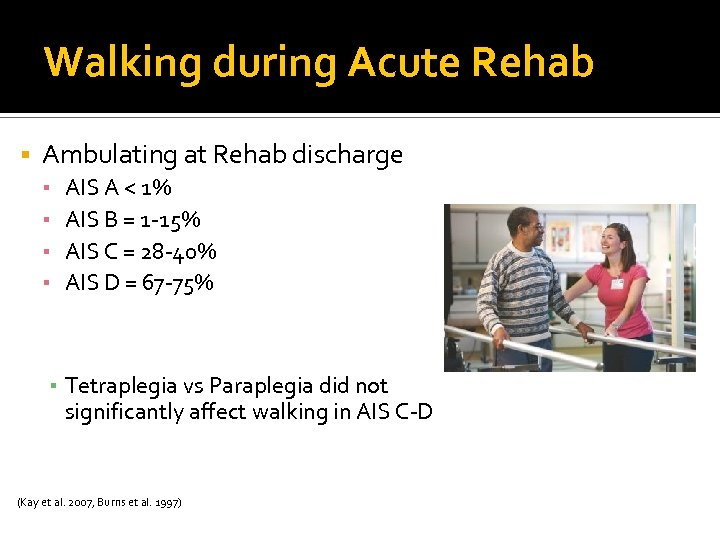 Walking during Acute Rehab Ambulating at Rehab discharge ▪ ▪ AIS A < 1%