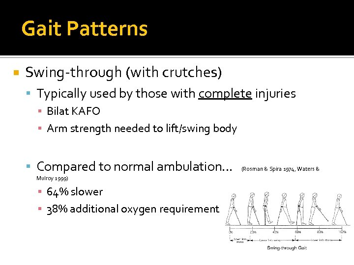 Gait Patterns Swing-through (with crutches) Typically used by those with complete injuries ▪ Bilat