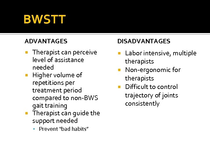 BWSTT ADVANTAGES DISADVANTAGES Therapist can perceive level of assistance needed Higher volume of repetitions